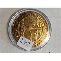 1994 DEADWOOD Eiffel Tower Seven Wonders Coin in Hard Display