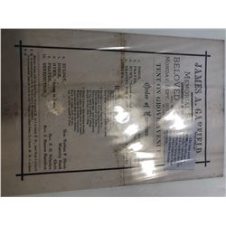 EXTREMELY RARE James A Garfield President funeral Program