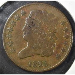 1825 HALF CENT, VF