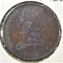 1833 HALF CENT, AU CRAZY COLORS