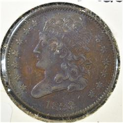 1833 HALF CENT, AU CRAZY COLORS