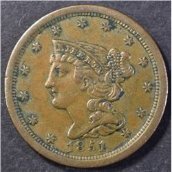 1851 HALF CENT, AU+