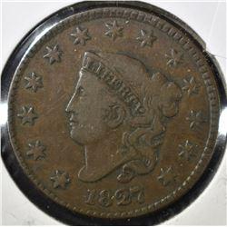 1827 LARGE CENT, F/VF