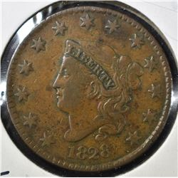 1828 LARGE CENT, VF/XF