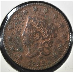 1829 LARGE LETTERS LARGE CENT, VF