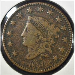 1831 LARGE CENT LARGE LETTERS, G/VG