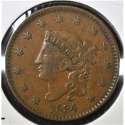1834 LARGE CENT, XF