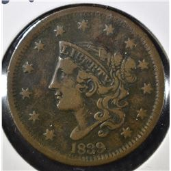1839 LARGE CENT, VF+
