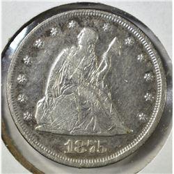 1875 TWENTY CENT PIECE, XF scratches KEY DATE
