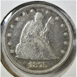 1875 TWENTY CENT PIECE, XF scratches KEY DATE