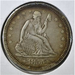1855 WITH ARROWS SEATED QUARTER, XF