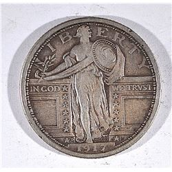 1917-D TYPE 1 STANDING LIBERTY QUARTER, XF+