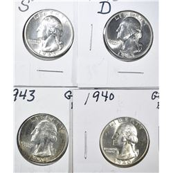 1940 & 1943-P-D-S GEM BU WASHINGTON QUARTERS