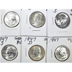 1945 P-D-S & 1947-P-D-S GEM BU WASHINGTON QUARTERS