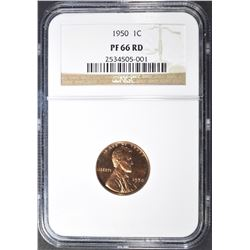 1950 LINCOLN CENT, NGC PF-66 RED
