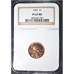 1952 LINCOLN CENT, NGC PF-67 RED