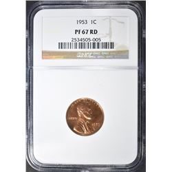 1953 LINCOLN CENT, NGC PF-67 RED