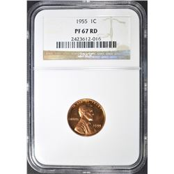 1955 LINCOLN CENT, NGC PF-57 RED