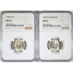 2-NGC GRADED SILVER JEFFERSON NICKELS: