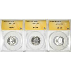 3-ANACS GRADED WASHINGTON QUARTERS: