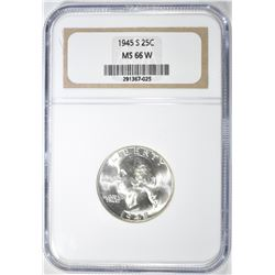 1945-S WASHINGTON QUARTER, NGC MS-66 W