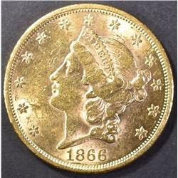 1866 MOTTO $20 GOLD LIBERTY CH BU FLASHY