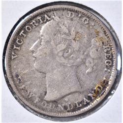 1876 H NEWFOUNDLAND 20 CENT VF