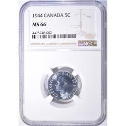 1944 CANADA NICKEL NGC MS-66