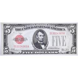 1928 A $5 RED SEAL US NOTE GEM CU