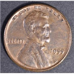 1955 DOUBLED DIE OBV LINCOLN CENT, CH BU