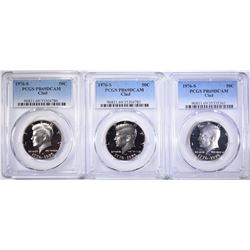 LOT OF 3-CLAD 1976-S KENNEDY HALVES, PCGS PR-69 D