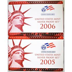 2005 & 2006 U.S. SILVER PROOF SETS ORIG PACKAGING