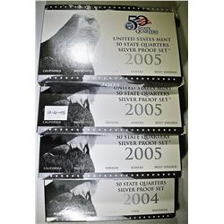 2004 & 3-2005 U.S. SILVER STATE QUARTER PROOF SETS