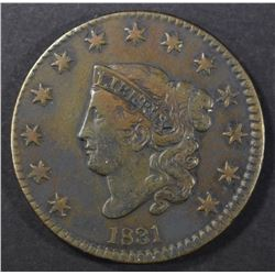 1831 LARGE CENT N-1, VF