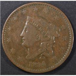 1834 LARGE CENT, FINE