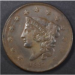 1837 LARGE CENT N-5 AU scratch obv