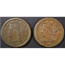 1844 N-1 FINE, 1845 N-13 XF rim damage LARGE CENTS