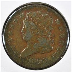 1828 HALF CENT, XF