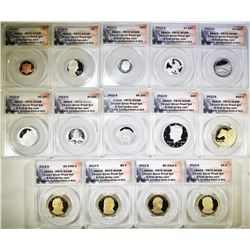 2012-S 14-COIN SILVER PROOF SET  ANACS PR-70 DECAM