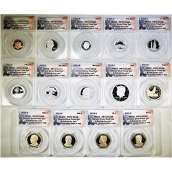2013-S 14-COIN SILVER PROOF SET  ANACS PR-70 DECAM