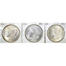 (3) 1921 MORGAN DOLLARS BU