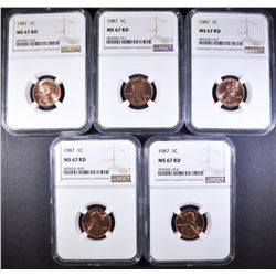 5-1987 LINCOLN CENTS, NGC MS-67 RED