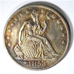 1853-O ARROWS & RAYS SEATED HALF AU SCARCE!