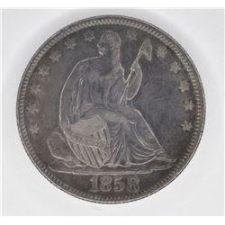 1858 SEATED LIBERTY HALF DOLLAR, AU/BU