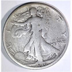 1916-S WALKING LIBERTY HALF DOLLAR, FINE+ KEY COIN