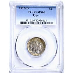 1913-D T-1 BUFFALO NICKEL, PCGS MS-66 SUPER