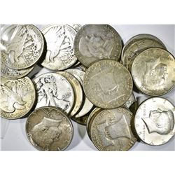 $10.00 FACE VALUE 90% SILVER HALF DOLLARS