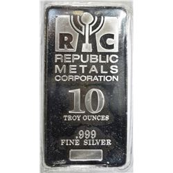 TEN OUNCE .999 SILVER BAR REPUBLIC METALS