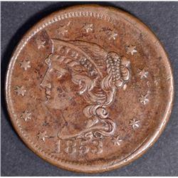 1853 LARGE CENT XF/AU