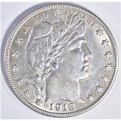 1913 D BARBER HALF DOLLAR CH BU